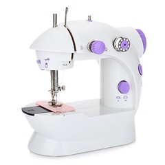 Mini automatic sewing machine with two-button speed control with LED lights and multifunction White purple Mini desktop portable