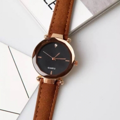Female watch fashion simulation clock leisure leather watch brown one size