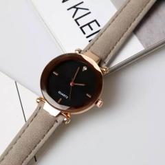 Female watch fashion simulation clock leisure leather watch grey one size