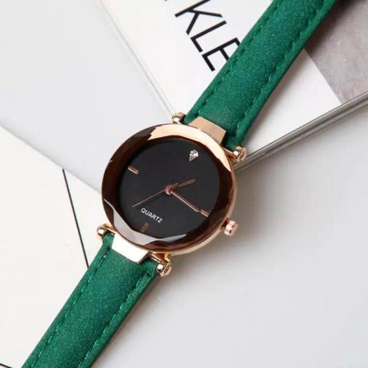 2019 Female watch fashion simulation clock leisure leather watch green one size