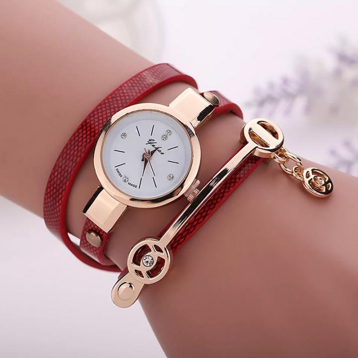 2019 Women watches luxury Analog Alloy Quartz Watch PU Leather Bracelet Watches red one size