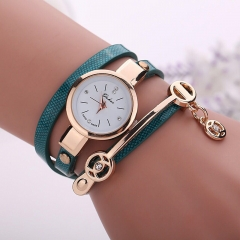 2019 Women watches luxury Analog Alloy Quartz Watch PU Leather Bracelet Watches blue one size