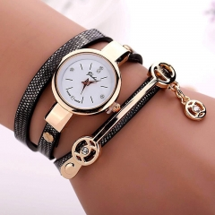 2019 Women watches luxury Analog Alloy Quartz Watch PU Leather Bracelet Watches black one size
