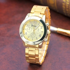 Geneva steel belt watch female alloy three-eye watch gold one size