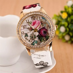 2019 Women Watches Rose Bohemian Wind Diamond Fashion Women's Quartz Watch white 24cm