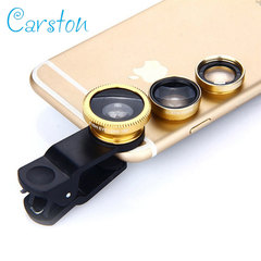 Universal 3 in 1 Clip-On Mobile Camera Lens Set Fisheye Macro Wide Angle External Clip On Lens color random 3 in 1