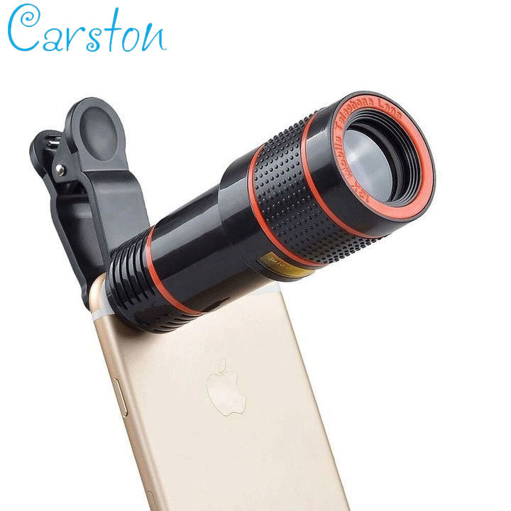 Universal 12X Zoom Mobile Phone Lens for Smartphones tablet Telephoto Clip Telescope Camera Lens Black and red 12X
