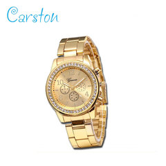 2019 GENEVA brand fashion  watch women rhinestone wristwatches ladies classic luxury quartz watches gold one size