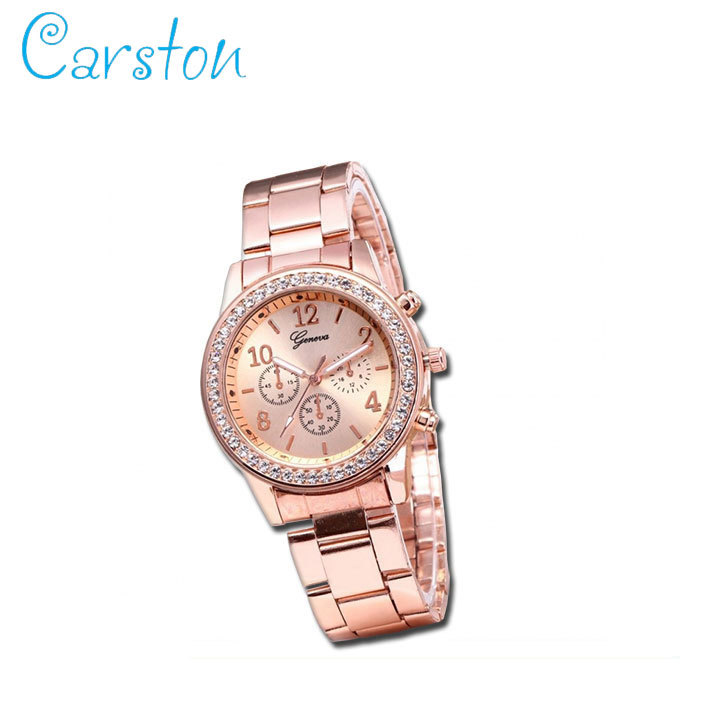 2019 GENEVA brand fashion  watch women rhinestone wristwatches ladies classic luxury quartz watches rose gold one size