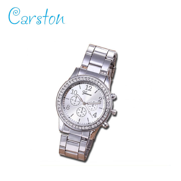 2019 GENEVA brand fashion  watch women rhinestone wristwatches ladies classic luxury quartz watches silver one size