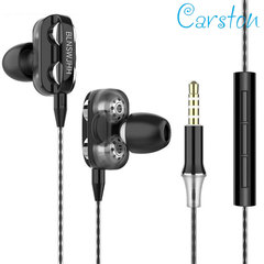 Sport In-Ear Earphones High Bass Quad Core Drive Headset With Microphone Earbuds For Android/iPhone black
