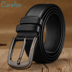 High quality men's genuine leather belt belts men luxury strap male belts for men fashion pin buckle Black 105-125cm