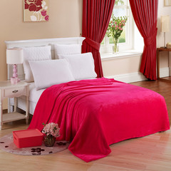 Flannel blanket blanket warm sheets, home outdoor car interior blanket Rose red 50cm*70cm80g
