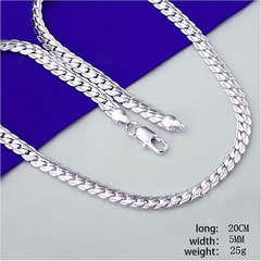 Wholesale 925 silver men's necklace,925 silver jewelry necklace 925 silver necklace LKN109 Silver one size