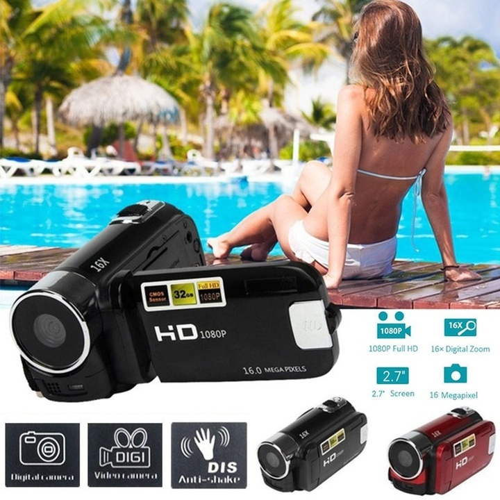 "Full HD 1080P 16MP 2.7"" LCD HDMI AV 16X Zoom Portable Digital Camcorder Camera DV style 2 black 10.5*5*4.5cm"