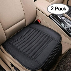 2pc Car Interior Seat Covers Cushion Pad Mat for Auto Supplies Office Chair with PU Leather(Brown) black one size