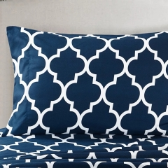 High Quality Cotton Duvet with 2 Pillow cases and 1 Bedsheet 4pcs Lattices Comfortable navy twin