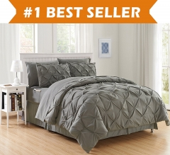 Bedding pure plain three piece suit  Quilt cover and Two pillowcases grey king