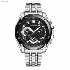 OUKESHI Fashion Men Quartz Watches Casual Wristwatch Stainless Steel Business Watch black one size