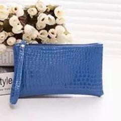 Clutch Makeup bag Change purse Wallet Handbag 1 Pcs Mini Portable Simple Fashion  Crocodile leather blue 725c8ec93bd5c