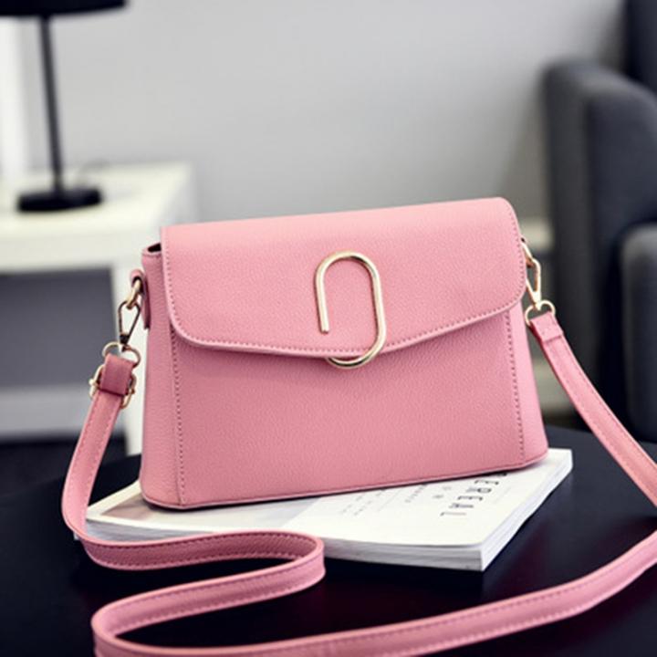 2018 Ladies Handbags Fashion Single Shoulder Messenger Bag PU Leather  Buckles Package pink length 28cm width 75ddc08bc3