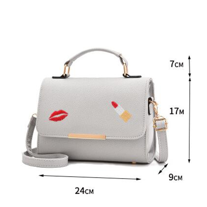 080aea6b5c 2018 Youth Fashion Ladies Bag Single Shoulder Bag Contracted Joker Diagonal Handbag  PU Leather Bag gray length 24cm