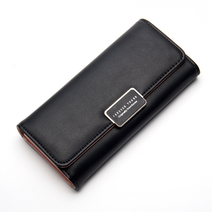 3253d54ae50 Women's Wallet Long Section Three Fold Clutch Bag Sweet Simple Wallet Small  Fresh Wallet black 19
