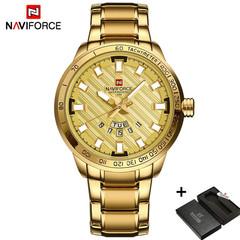 NAVIFORCE Men Watch Luxury Sport Business Steel Band  3ATM Waterproof Wrist Quartz Watches Gift Gold One size
