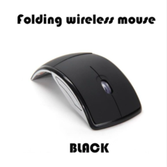 Foldable Wireless Arc Optical Mouse Mice with USB Receiver for PC Laptop Notebook Computer black one size