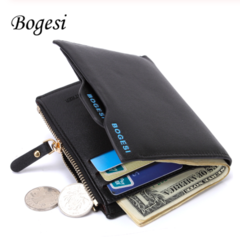 Men's Short Paragraph Wallet/Leather PU Wallet Black One size