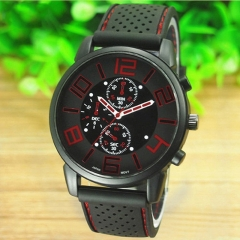 Casual Quartz Analog Silicone Stainless Steel Dial Sports WristWatch Sport Watches Men's Watch Color Randomly one size