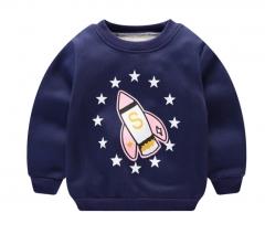 2018 autumn and winter new wave children's long-sleeved baby plus velvet warm long sleeves rocket 110cm