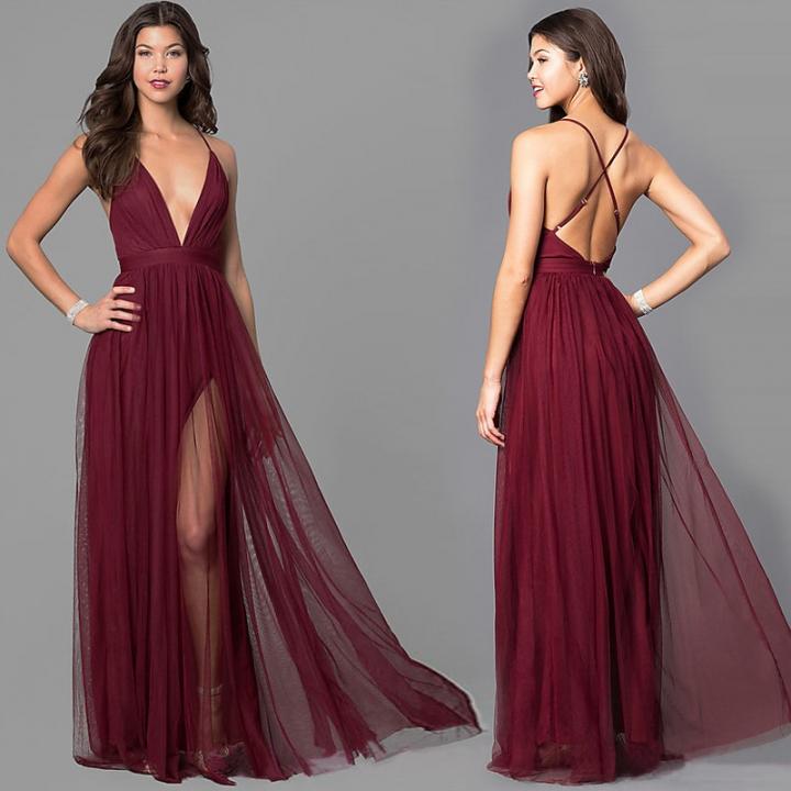 7e077bea12315 2018 New Explosion Models Chiffon V-neck Sleeveless Beach Party Elegant Sexy  Dress s red