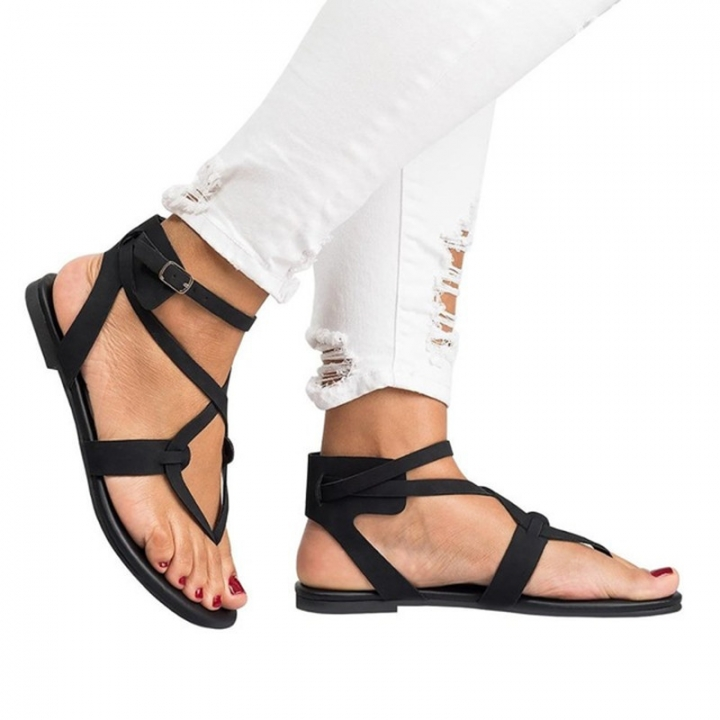 2018 Explosion Models Open Toe Flat Female Sandals Shoes Black 35