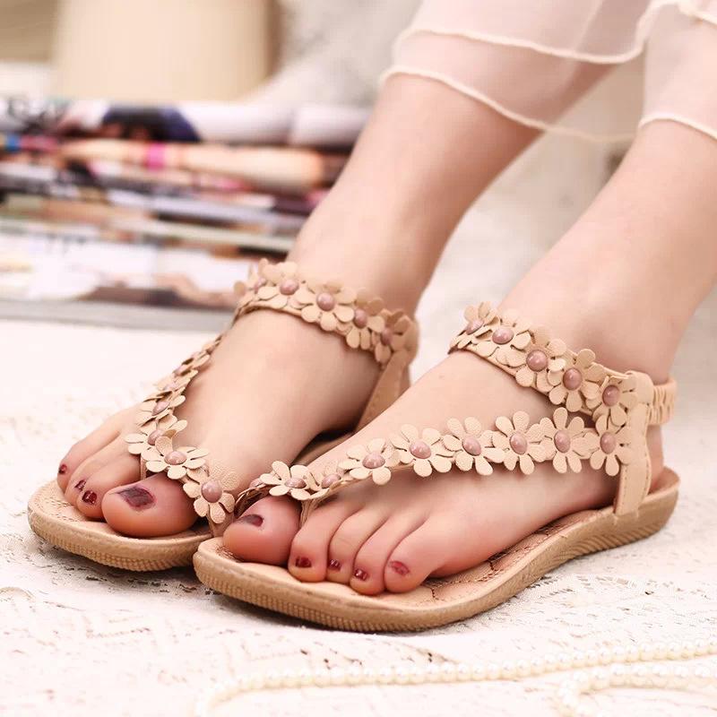 91d58049a94693 2018 Bohemian Sandals Pinch Summer New Beaded Toe Flower Flat Shoes beige 1  36   Kilimall Kenya