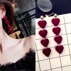Sexy Fashion Trend Gentle Hair Ball Stud Simple Versatile Multicolor Love Pompom Earrings Jewellery red wine one size