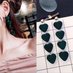 Sexy Fashion Trend Gentle Hair Ball Stud Simple Versatile Multicolor Love Pompom Earrings Jewellery dark green one size