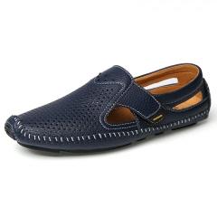 Men Sandals Black Leather Sandals Summer Hollow Shoes Men's Breathable Casual Leather blue 39