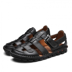 Summer Mens Leather Sandals Gladiator Casual Beach Slide Shoes Open Toe Breathable Holes black 40