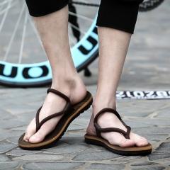Summer Style Men Casual Non-slip Flip Flops Male Boys Beach Flat Slippers Wearproof Shoes brown 40