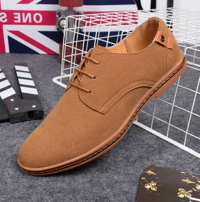 1e0df386c75 Fashion men casual shoes new spring men flats lace up male suede oxfords men  leather shoes khaki 47 leather  Product No  1984473. Item specifics  Brand