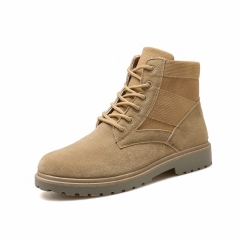 Men's army boots, wolf wolf casual work boots, high boots, waterproof shoes, Martin boots. yellow 42