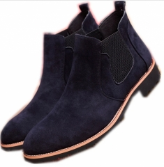 The Chelsea Boot Men Suede Hombre Martin Boots Low Heel Nubuck Leather Ankle Thread Britain Botas blue 42