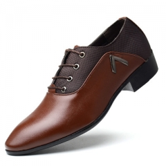 Men's shoes men's business dress shoes extra large size casual shoes 48 size pointed lace brown 38 leather