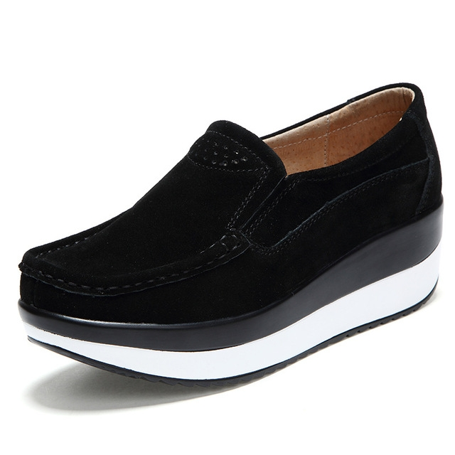 b18d40d76c3e Women s Shoes Ballet Cow Suede Leather Flat Platform Woman Shoes Slip On  Female Women s Loafers black