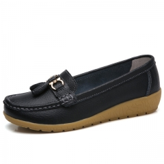 Women Shoes Loafers Genuine Leather Flats Moccasins Shoes Spring Autumn Female Casual Ladies Leather black 5