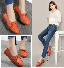 Women's shoes fall  single-shoe soft top comfortable print ladies flat heel leather women's shoes he orange 35