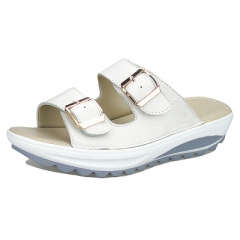 Leather wedges for women  and large size anti-skid leisure slippers for comfortable casual wear white 35