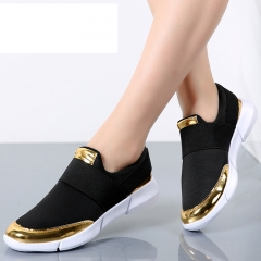 Women Casual loafers Breathable Summer Flat Shoes Woman Slip on Casual Shoes New  Flats Shoes black 5.5