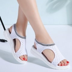 Women Sandals  Female Shoes Woman Summer Wedge Comfortable Sandals Ladies Slip-on Flat Sandals white 5